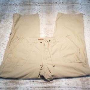 Eddie Bauer Embroidered Tan Tall Cargo Pants